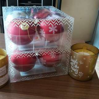 Scented candles(french vanilla scents)and Christmas tree ornaments w/ free silicone hand exercise ball