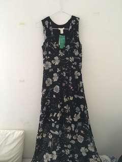 H&M maxi botanical printed dress