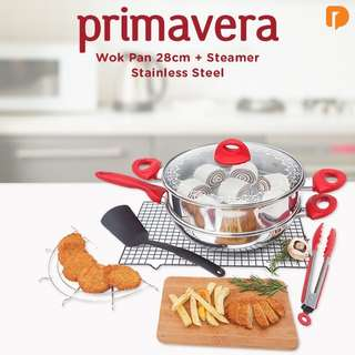 Primavera Wok Pan 28 cm and Steamer Stainless Steel