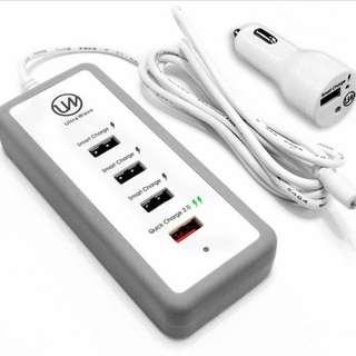 USB 快速充電2.0車載充電器45W 6A,5 USB 智能充電器 (蘋果設備兼容使用)