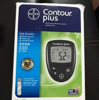 Contour plus血糖監測機9成新只用兩日180支採血針一合全新未開試紙一合有30張試紙