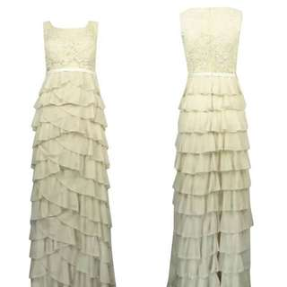 New long white or pink ruffle lace dress evening grown party dress  Xs