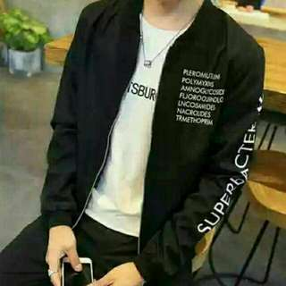 JAKET SUPER BACTFR BLACK  BAHAN BABYTERRY AD SELETING LD 100 PJG 65 CM FIT L+