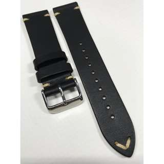 22mm Watch Strap Black Colour Genuine Leather With Contrast Stitching