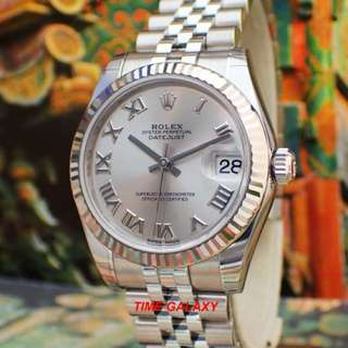 Brand New ROLEX Oyster Perpetual Lady 31mm Datejust Automatic Rhodium Romans. Swiss made. Ref model : 178274