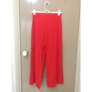 Glassons High waisted red linen pants with poppers, size 6