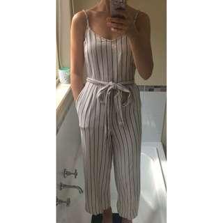0c5d488a63f Glassons beige striped linen wide leg jumpsuit with tie up waist