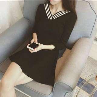 korean v neck dress