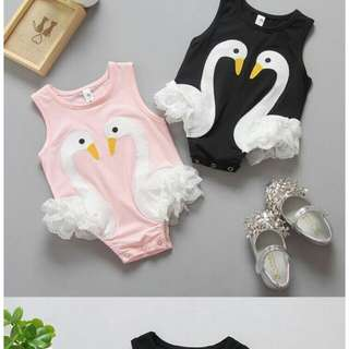 Cotton Swan Lace Baby Romper