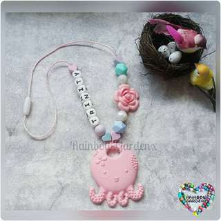 Customised Pastel pink Octopus Teether with Beads Necklace