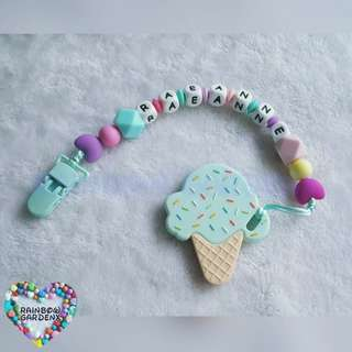 Handmade Customized Pacifier Clip with letter beads + Ice Cream Teether