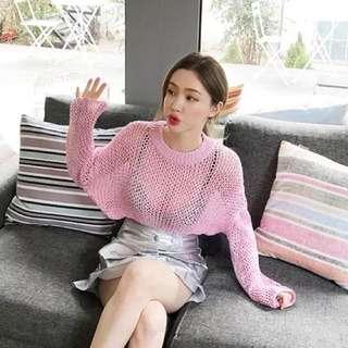 性感透視小粉紅漁網針織衫防曬衫