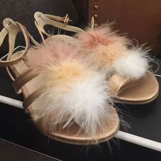 Zalora Rose Gold Feather Sandals