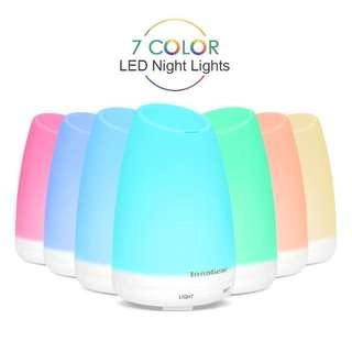 InnoGear 150ml Essential Oil Diffuser Portable Ultrasonic Aroma Aromatherapy Diffusers with 7 Changeable Colored LED Lights, Adjustable Mist Mode and Waterless Automatically Shut-off