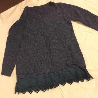 正韓藍色長版毛衣