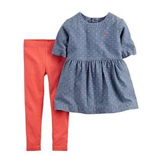 Carters 2pc denim top & legging set - 9 mth
