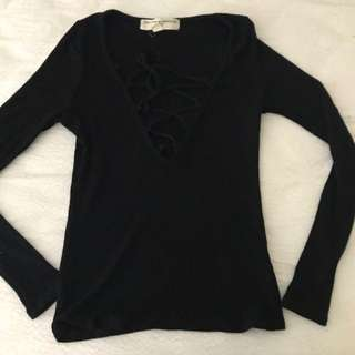 Urban Outfitters Black Lace Up Long Sleeve