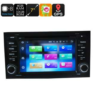 Car DVD Player 2 Din 7 Inch For Audi - Android 6.0, Octa Core, 4+32GB, Can Bus, GPS, 3G and 4G Support, Wifi, Bluetooth (CVAIO-C604)