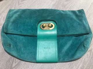 Furla suede clutch bag