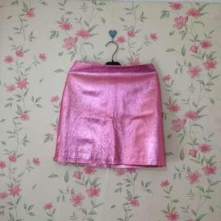 Topshop metallic pink skirt