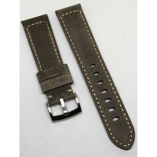 22mm Watch Strap Grey Colour Genuine Leather With Beige Stitching