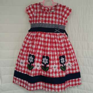 Red/White checked with blue girl's dress Size (5) with sling Doll
