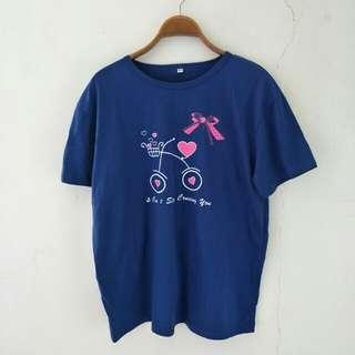 🚚 【泡泡二手衣】短袖藍色休閒上衣#五十元好物