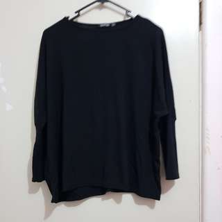 Long sleeve baggy batwing ribbed patterned top