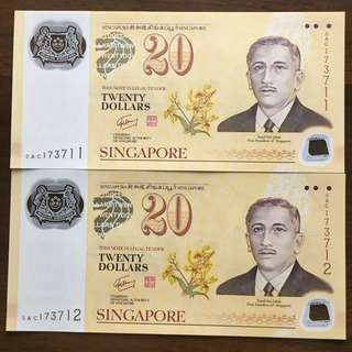$20 Twenty Dollars Notes 2 pc