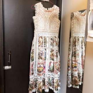 米白lace印花print中長裙(可作party dress)