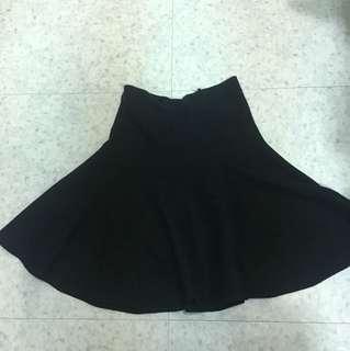 黑針織高腰裙