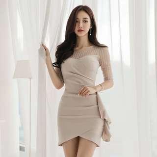 Beige Side Frill Mini Dress