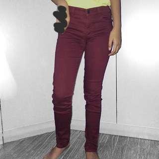 REPRICE H&M Maroon Skinny Jeans