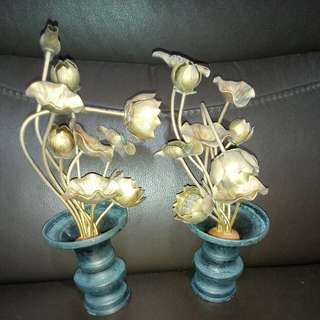 Vintage handmade copper flower Display