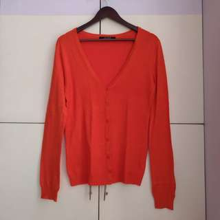 Bershka Red Orange Cardigan