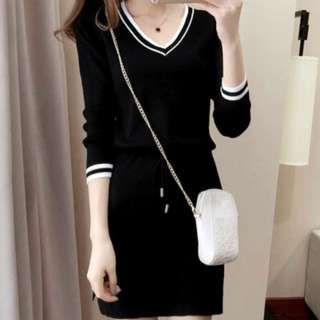 [PO47]Women Clothing V-neck Knitting Dress