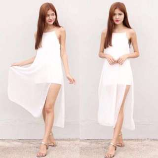 WHITE SLIT MIDI DRESS