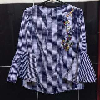 CHECKERED WIDE SLEEVED TOP