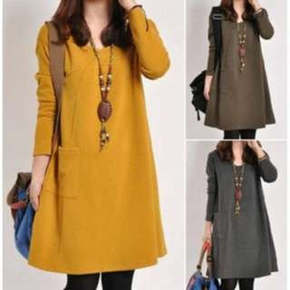 [PO48]Women Casual Loose long sleeve Dresses