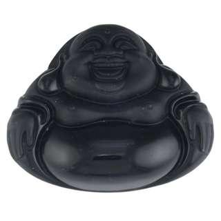 Laughing Buddha Obsidian Amulet, Budai Obsidian Amulet