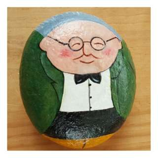 Individually acrylic hand painted on large pebble.  Calm and likeable Mr Happy.
