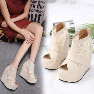 Size 34-39 Lace Peep Toes Gladiators Wedges