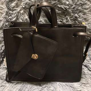 Black Structured leather Bag