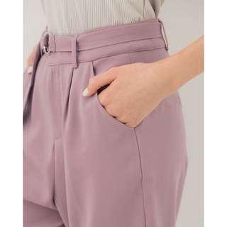 Meier q 藕紫色 西裝長褲 綁帶長褲