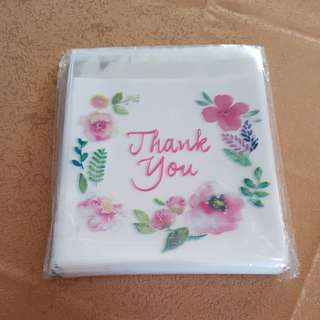 New Thank You Flower Design Cookie Plastic Pouch 14cm