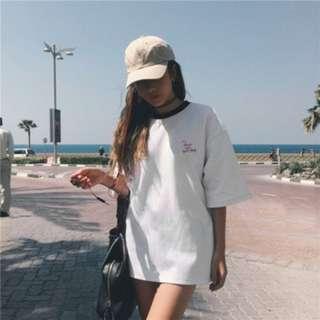 [PO53]Girl's Loose T-shirt Kurung Cotton Tops BF Style Tees