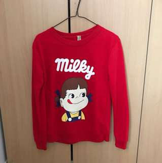 ♠️Ulzzang Red Milky Pullover