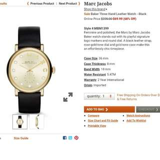 Marc Jacobs Baket Three Hand Leather Watch
