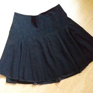 【照價50%】D 黑色半截橡筋腰短裙 black skirt mini elastic skirt