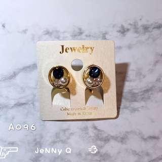 🇰🇷韓國鋯石珍珠鏤空圓形夾式耳環